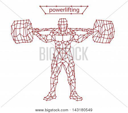 Trendy stylized illustration movement, powerlifting, line vector silhouette of powerlifting