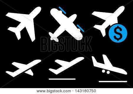Aviation vector icons. Pictogram style is bicolor blue and white flat icons with rounded angles on a black background.