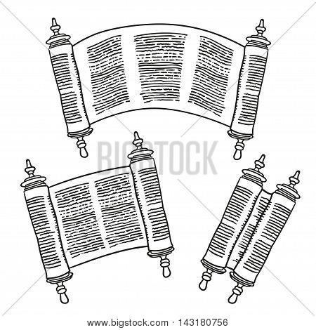 Vintage Roll of antique blank manuscript over white. Ancient scroll of the Law. contour doodle style. Black and white