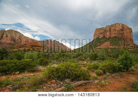A storm is coming over the red rocks in Sedona.