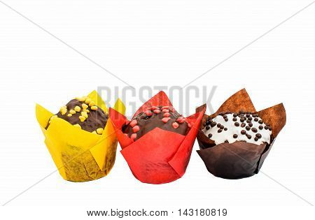 dessert chocolate muffins on a white background