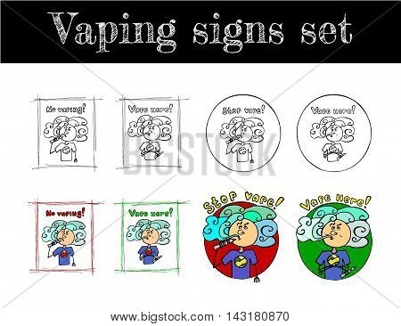Hand drawn set of vaping signs. Vaper. Vape and anti vape places signs. Black and white and colored vector illustration in doodle style.