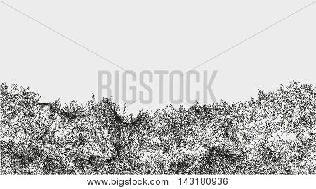 Abstract wavy structure made by shuffled round particles. Swarm of dots. Rippled random halftone illustration for backdrop. Element of design.