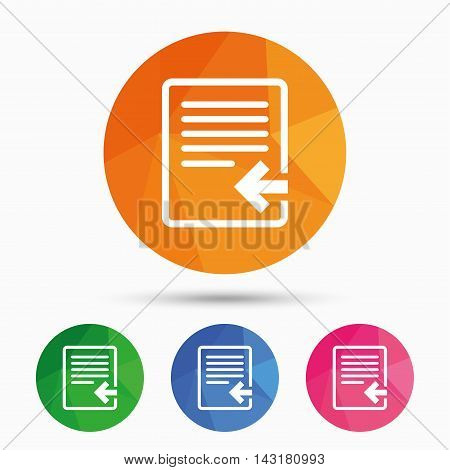 Import file icon. File document symbol. Triangular low poly button with flat icon. Vector