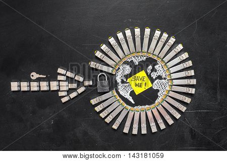 Internet SFP network modules as the shape of Earth and arrow padlock key and yellow sticker with title password on the black background.Concept of internet security/computer data encryption / data protection / security enhancement