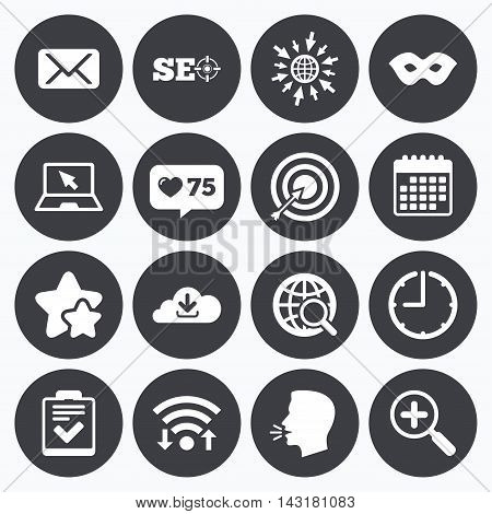 Calendar, wifi and clock symbols. Like counter, stars symbols. Internet, seo icons. Checklist, target and mail signs. Mask, download cloud and magnifier symbols. Talking head, go to web symbols. Vector