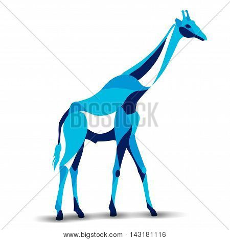 Trendy stylized illustration, giraffe, line vector silhouette of giraffe, vector illustration