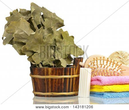 Bathing accessories for the body care isolated on white background