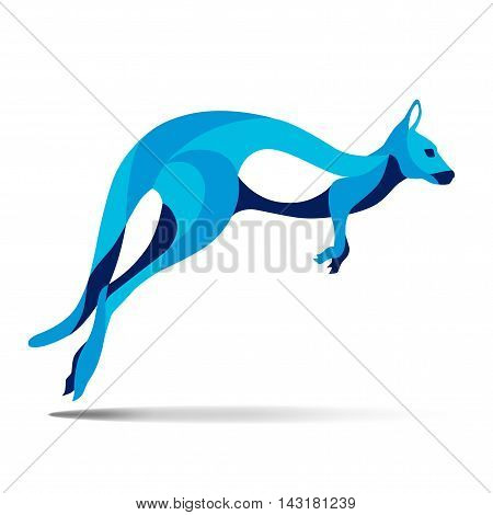 Trendy stylized illustration, kangaroo, wallaby, wallaroo, line vector silhouette of kangaroo, vector illustration