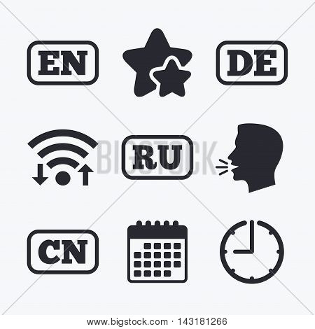 Language icons. EN, DE, RU and CN translation symbols. English, German, Russian and Chinese languages. Wifi internet, favorite stars, calendar and clock. Talking head. Vector