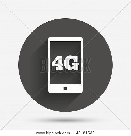 4G sign icon. Mobile telecommunications technology symbol. Circle flat button with shadow. Vector