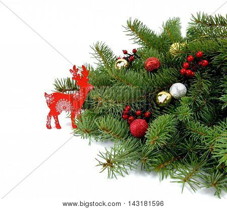 Christmas tree decorations in rustic and Wooden reindeer. Christmas attributes. / Isolation on a white background /.