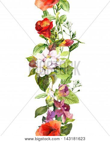 Wild herbs, flowers and butterflies. Decorative repeating floral border. Watercolor