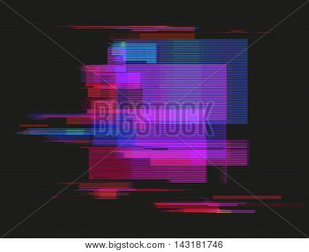 Glitched horizontal stripes. Illustration of colorful night lights. Abstract background with a digital signal error and collapsing data. Element of design.