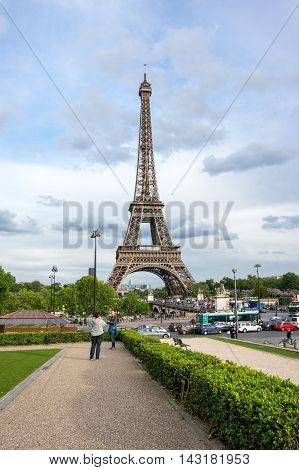 PARIS FRANCE - MAY 07 2015: View at famous Tour Eiffel in Paris France