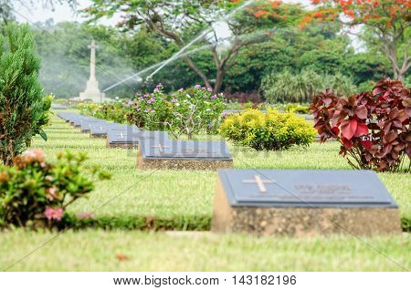Chungkai War Cemetery this is historical monuments where to respect prisoners of the World War 2 who rest in peace here Kanchanaburi Province Thailand