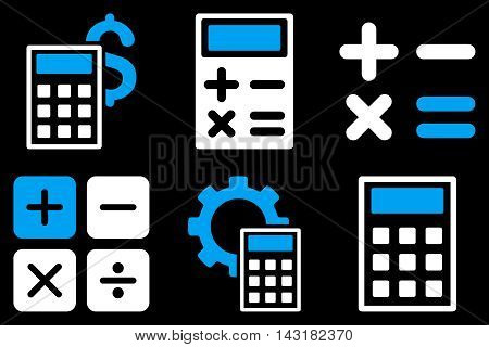 Calculator vector icons. Pictogram style is bicolor blue and white flat icons with rounded angles on a black background.