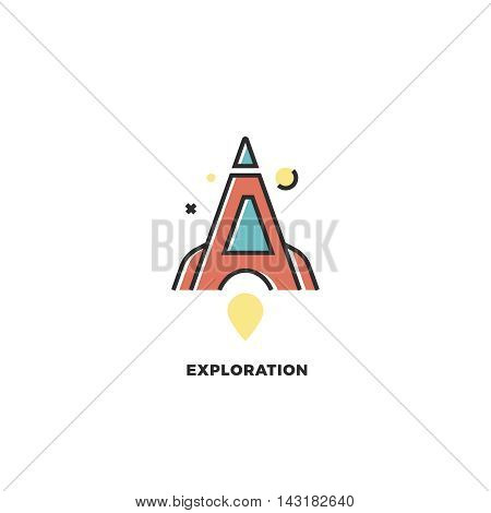Stylized red rocket. Vector letter A logo. Exploration concept. Design template