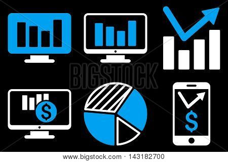 Chart Monitoring vector icons. Pictogram style is bicolor blue and white flat icons with rounded angles on a black background.