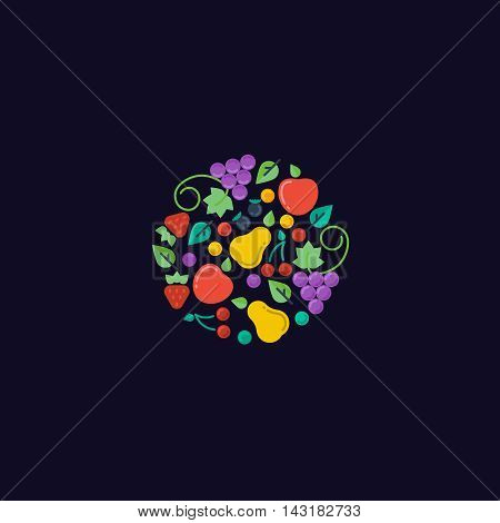 Fruits and berries in the circle. Fresh food. Vector logo design template. harvest or gardening, horticulture icon. flat illustration