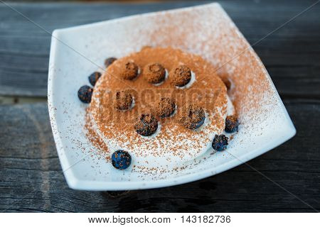 ice cream dessert decorated with berry fruit and cocoa powder on old grey wooden boards background
