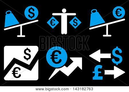 Currency Trading vector icons. Pictogram style is bicolor blue and white flat icons with rounded angles on a black background.