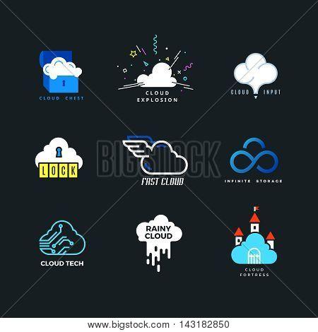 Set of cloud logo. Outline and flat. Cloud storage, cloud computing, cloud forecast. Vector design template