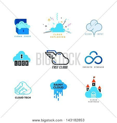 Set of cloud logo. Outline and flat. Cloud storage, cloud computing, cloud forecast. Vector design template