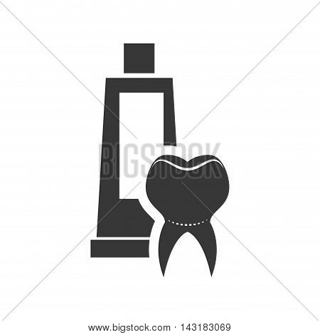 teeth toothpaste dental medical care icon. Flat and Isolated design. Vector illustration