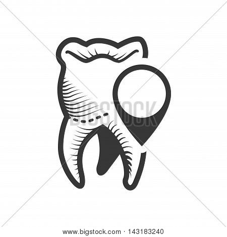 teeth button dental medical care icon. Flat and Isolated design. Vector illustration