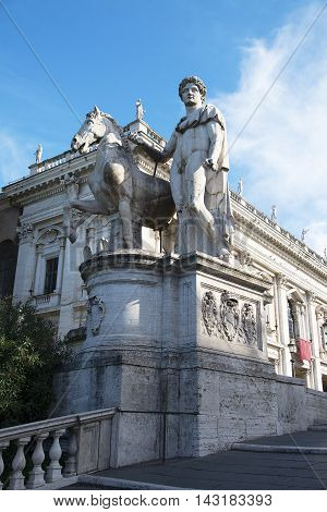 Statue of Castor with a horse in front of the Capitol Square, Rome, Italy.