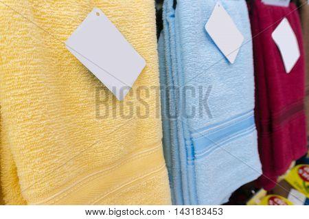 Colorful Towels On Supermarket Shelves
