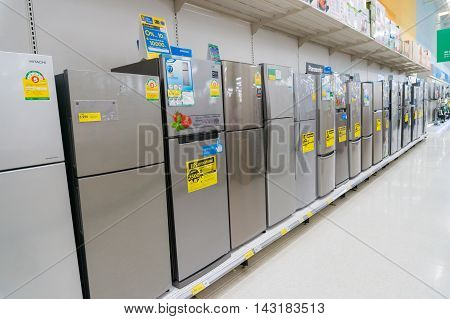 Bangkok Thailand - August 6 2016: Row of Refrigerator in Hypermarket store.Thailand is one of the leading Manufacturer of refrigerator in the Asian region.