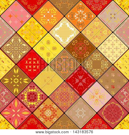 Mega Gorgeous seamless patchwork pattern from colorful Moroccan tiles ornaments. Can be used for wallpaper pattern fills web page backgroundsurface textures. Gold and red color. Christmas style.