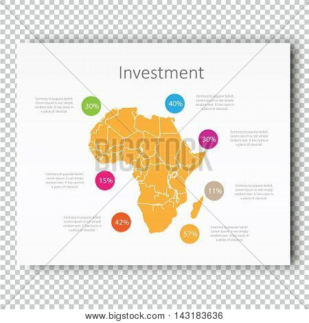 Business Investment Africa Map Presentation slide Template, Business Layout design, Modern Style. Yellow color light version. For your next commercial projects or personal use.
