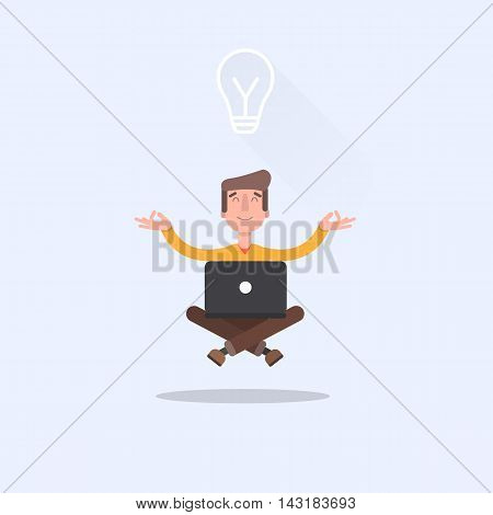 Man sitting in lotus position with laptop and came up with the idea of how to do a better job. EPS 10. Vector