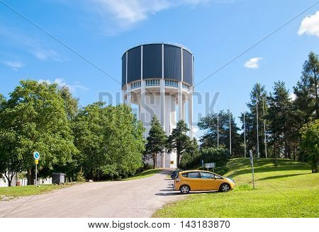 LAPPEENRANTA, FINLAND - AUGUST 8, 2016: Water tower (Vesitorni). One of the tallest buildings in the city. Was built in 1955.