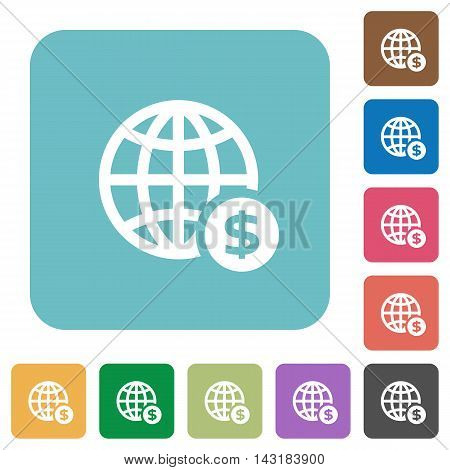 Flat online dollar payment icons on rounded square color backgrounds.