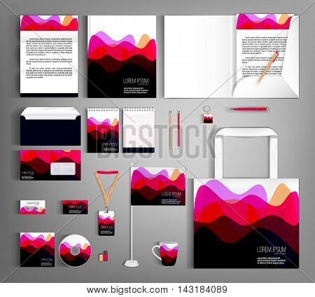 Corporate identity template design with wavy stripes. Business set stationery, brochure, card, letterhead, catalog, pennants. Suitable for brand advertising