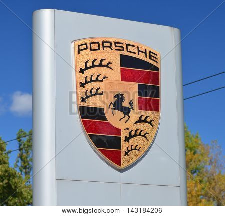 CIRCA AUGUST 2016 - SOPOT: Emblem of Porsche. Porsche AG is German automobile manufacturer specializing in high-performance sports cars. It was founded in 1931 in Stuttgart.