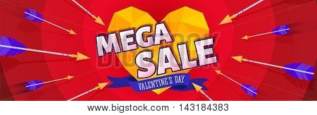 Valentine's day sale banners. Sale and discount.  Vector illustration
