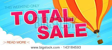 Total sale banner. Sale and discounts. Vector illustration