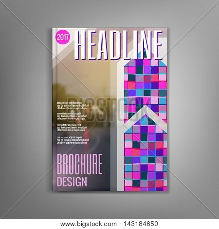 Design magazine cover template with with colorful mosaics, flyers, leaflets, presentation covers, the annual report. Modern dynamic design. Vector illustration.