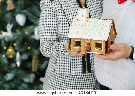 Husband and wife hold gingerbread house and embrace near christmas tree