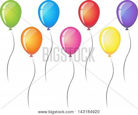Seven balloons with ribbon isolated on white background. Balloon icon. Red orange yellow green blue and purple party balloons. Rainbow vector illustration