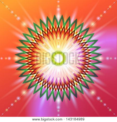The symbolic image of a flower in sacred geometry. Circular colorful sign of a fundamental aspect of development in the esoteric sense
