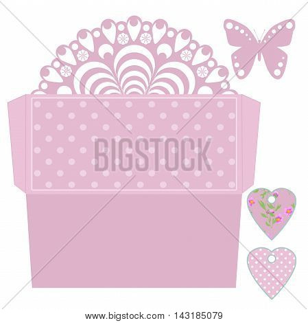 Die cut envelope amd tags template. Laser cut envelope for wedding invitation card. Envelope in retro pink polka dot style