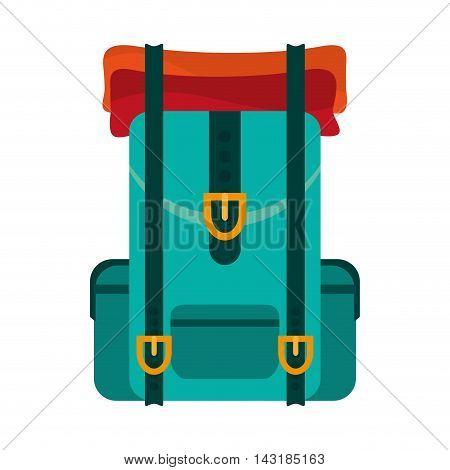 flat design travel backpack icon vector illustration