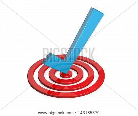 Three-dimensional checkmark in three-dimensional target with white background.