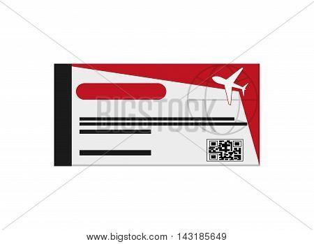 flat design airplane boarding pass icon vector illustration